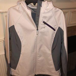 White gray and purple rain jacket